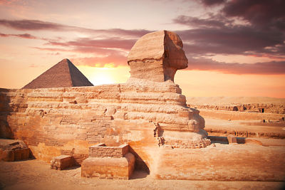 Guardian Sphinx guarding the tombs of the pharaohs in Giza - Egypt